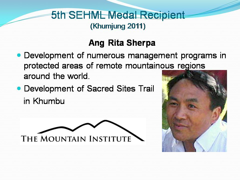 Sir Edmund Hillary Mountain Legacy Medal 2017 presentation event